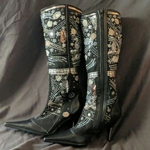 Aldo NEW Embroidered Sequin point toe boots